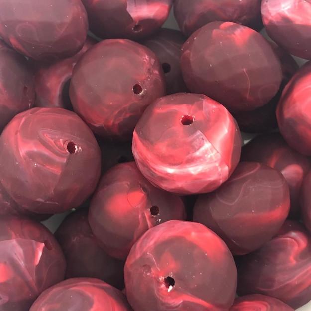 BOL395 - Conta Emborrachada Rondela Vermelho 25mm - 2Unids