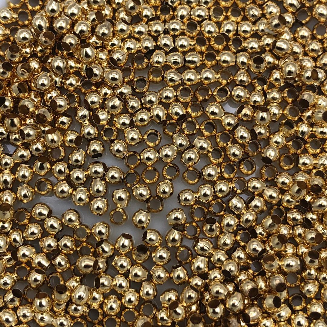 BOL628 - Bola Metálica Chumbinho 2mm Banho Cor Dourado - 5Grs