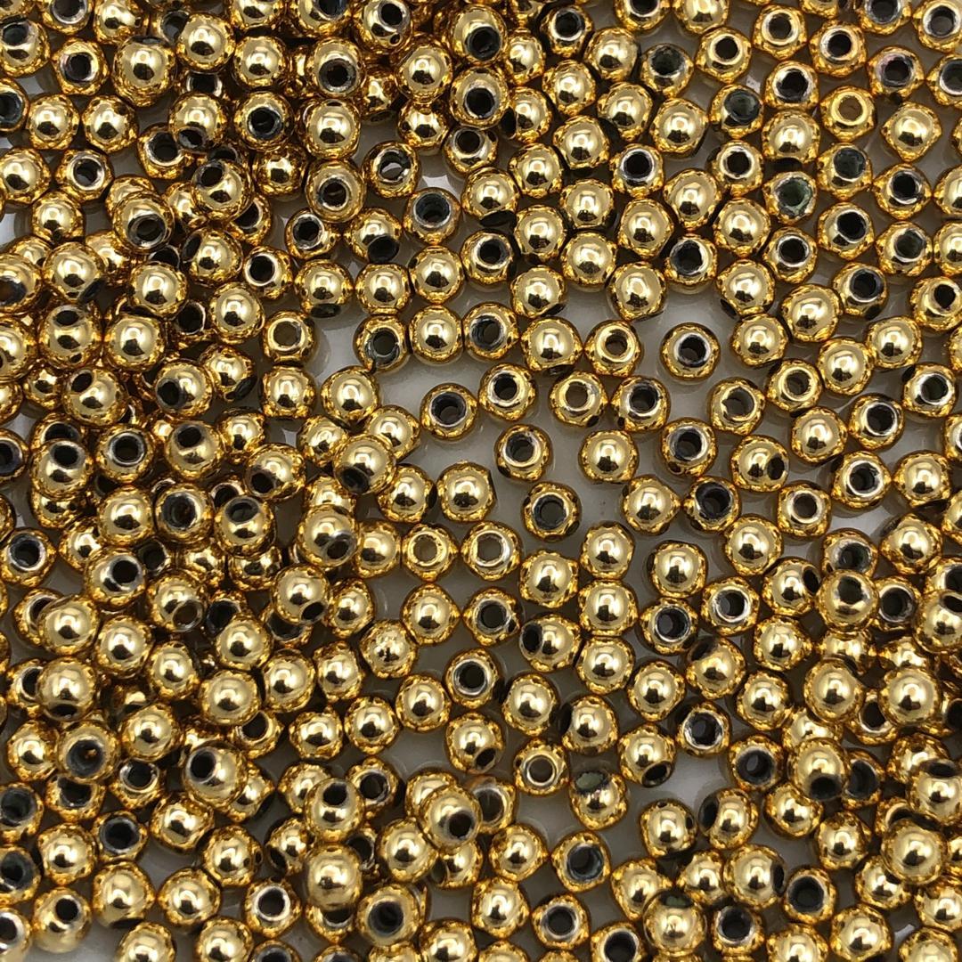 BOL634 - Bolinha ABS 4mm Banhado Cor Dourado - 5Grs