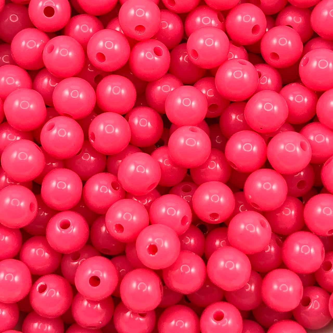 BOL653 - Bola Plástica Rosa Pink 8mm - 20Grs