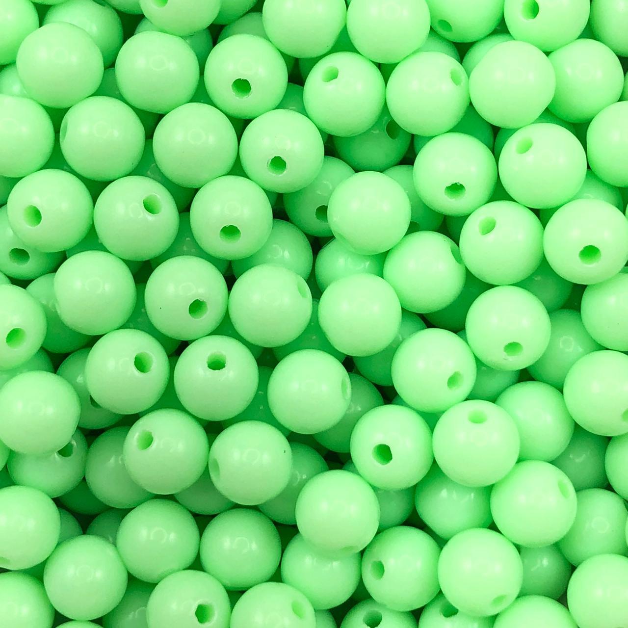 BOL654 - Bola Plástica Verde Menta 8mm - 20Grs
