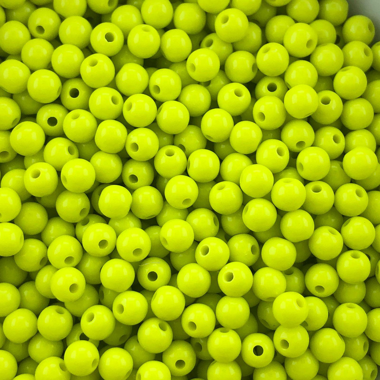 BOL674 - Bola Resina Amarelo Canário 6mm - 20Grs