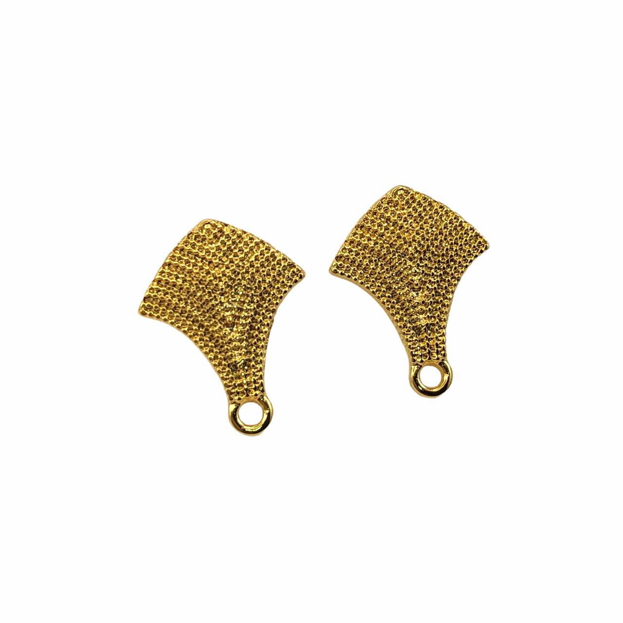 BP1345 - Base de Brinco Setas Banhado Cor Dourado - 01Par