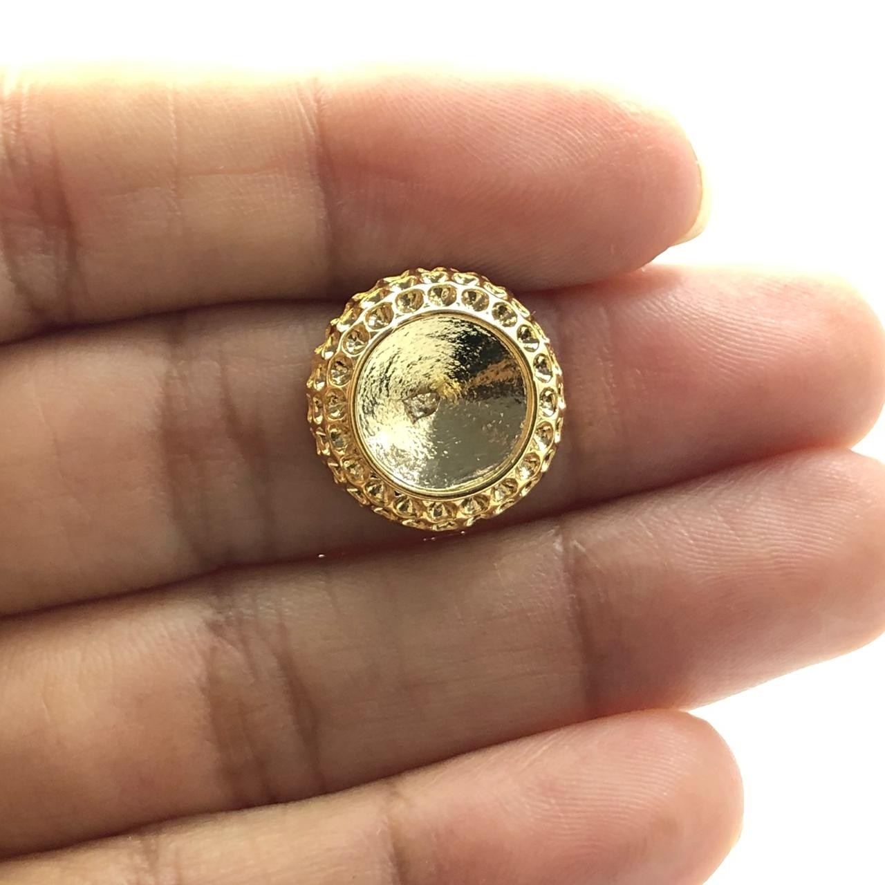 BP1372 - Base de Brinco Redondo Banhado Cor Dourado - 01Par