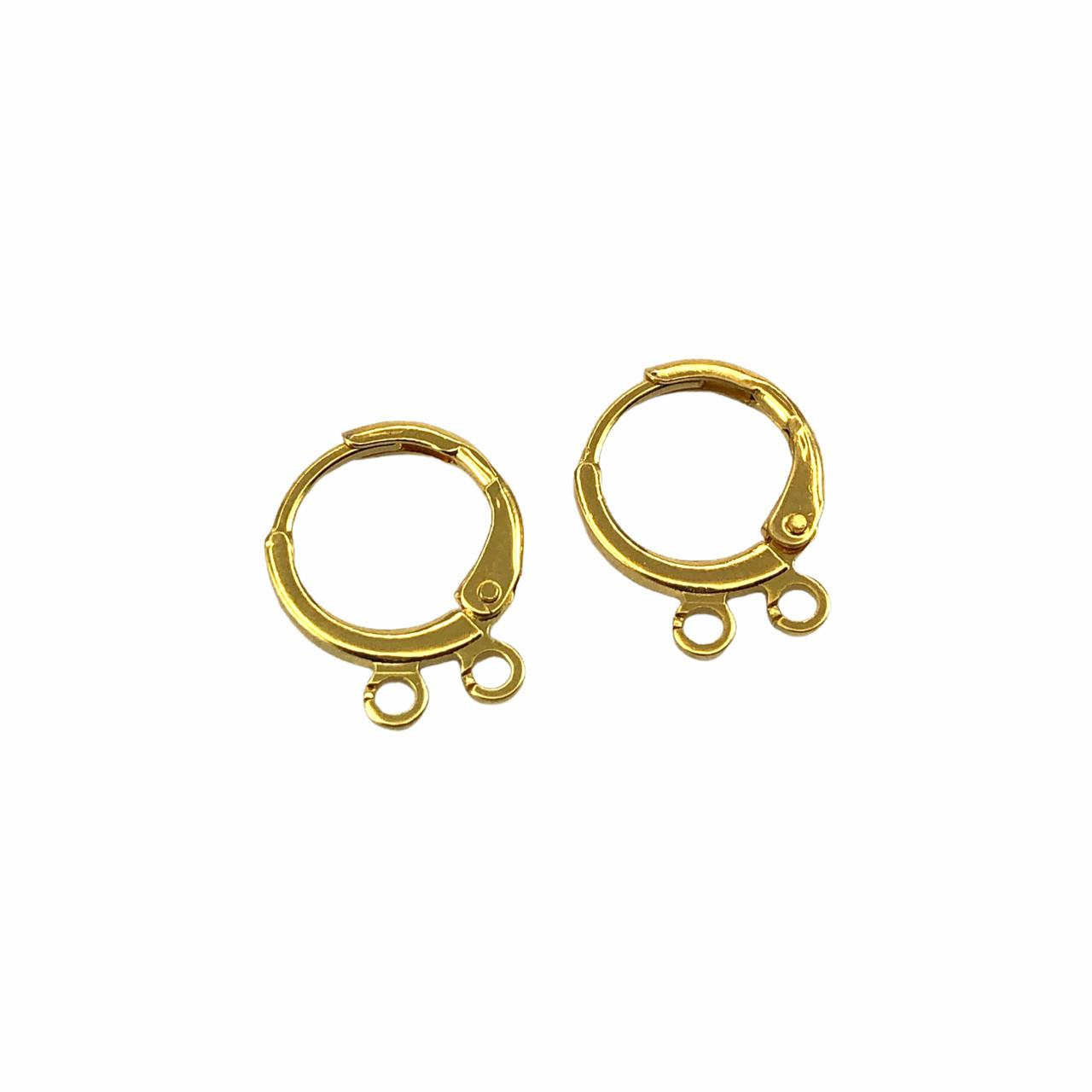 BP1649 - Argolinha 2 Saídas Banhado Cor Dourado - 01Par