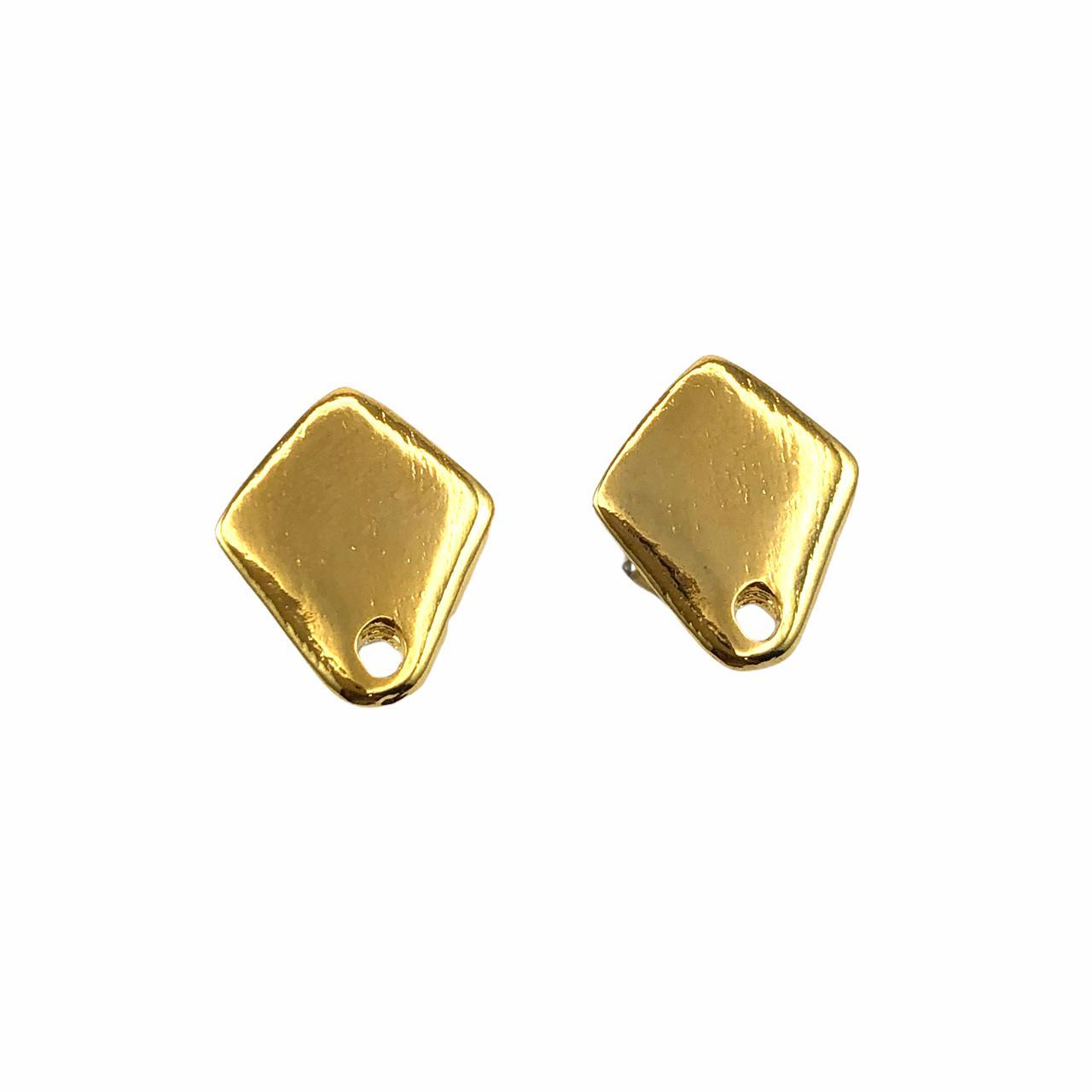 BP1655 - Base de Brinco Triangular Banhado Cor Dourado - 01Par