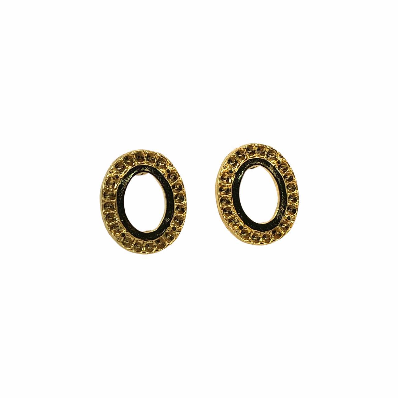 BP1628 - Base de Brinco Oval Banhado Cor Dourado - 01Par