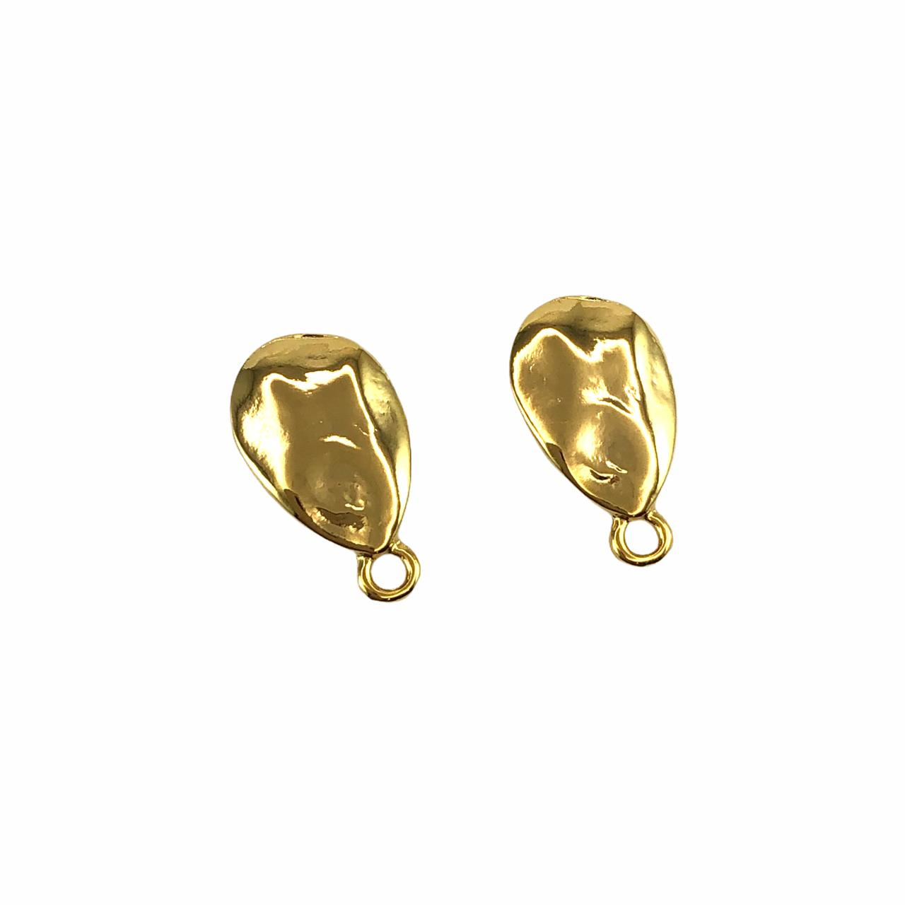 BP1682 - Base de Brinco Gota Banhado Cor Dourado - 01Par