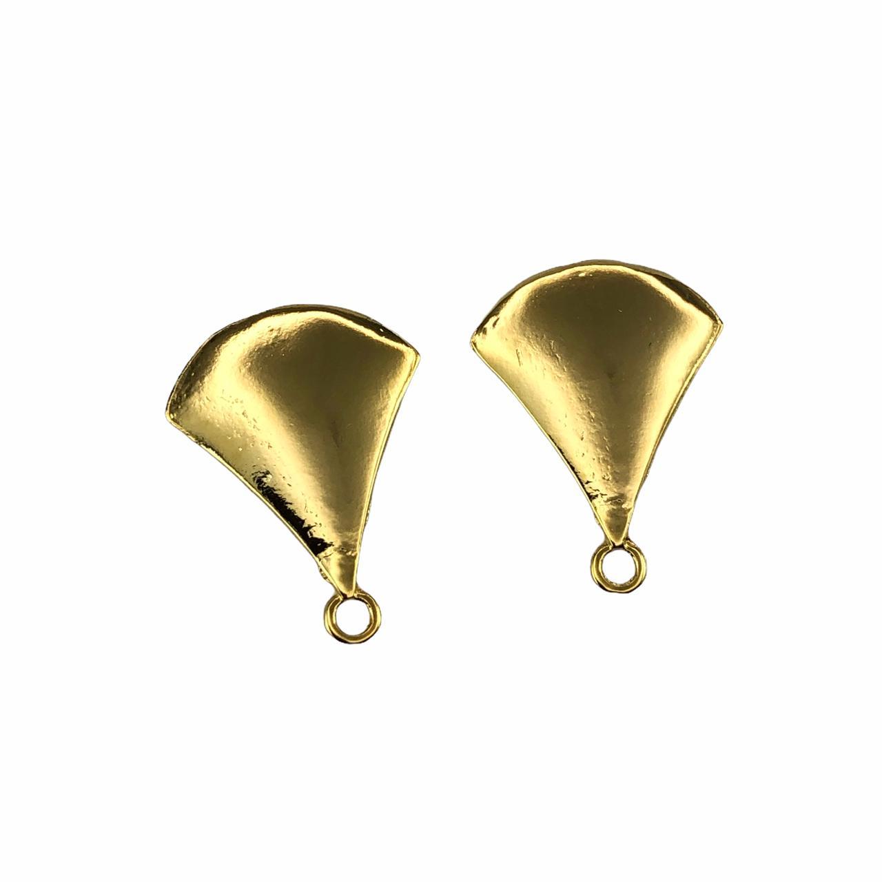BP1703 - Base de Brinco Triangular Banhado Cor Dourado - 01Par