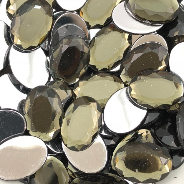 CHT1046 - Chaton Oval 13x18 Black Diamond - 4Unids