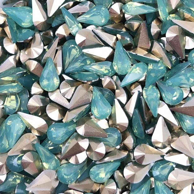 CHT1334  - Chaton Gota Base Côncava Crysolite Opal 6x10 - 10unids