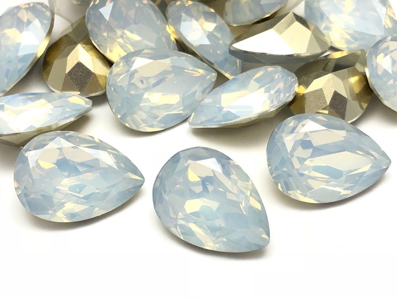 CHT647 - Chaton Base Côncava White Opal Gota 18x25 - 2unid