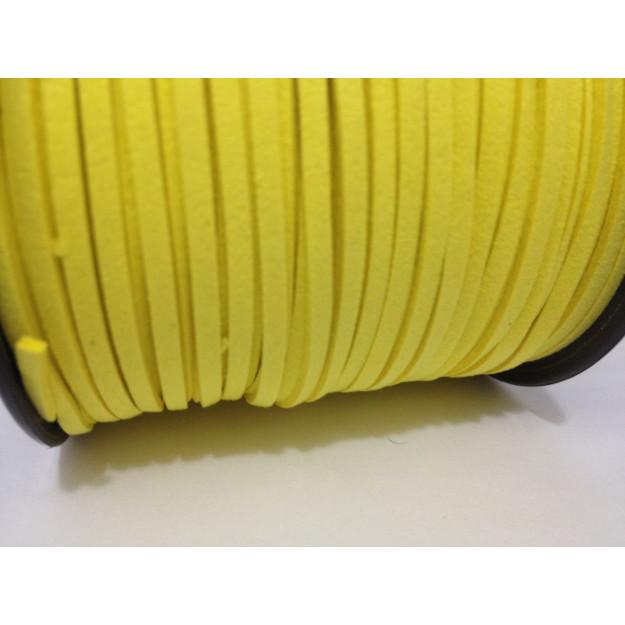CM01 - Cordão de camurça 3mm Amarelo - 1metro