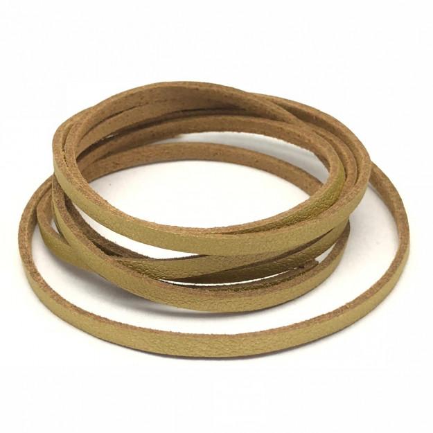 CM100 - Cordão Couro c/ camurça 3mm Dourado - 1metro