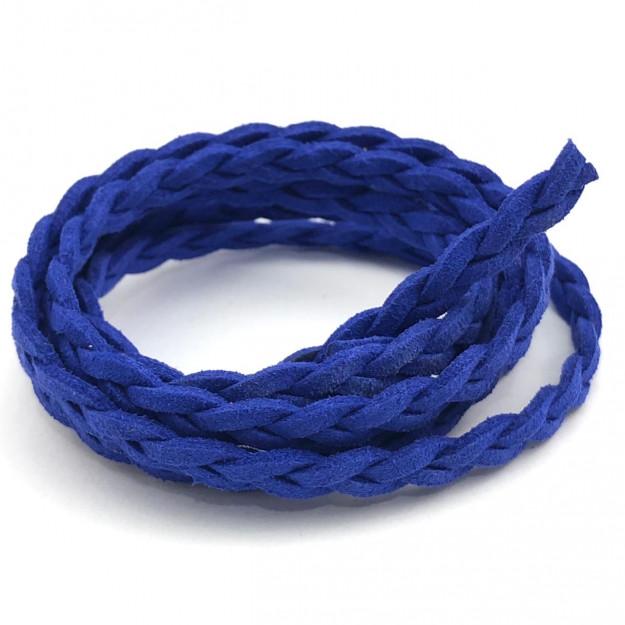 CM105 - Cordão de camurça Trançado 5mm Azul Caneta- 1metro