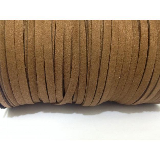 CM10 - Cordão de camurça Marrom 5mm - 1metro