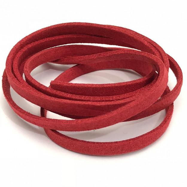 CM12 - Cordão de camurça 5mm Vermelho - 1metro