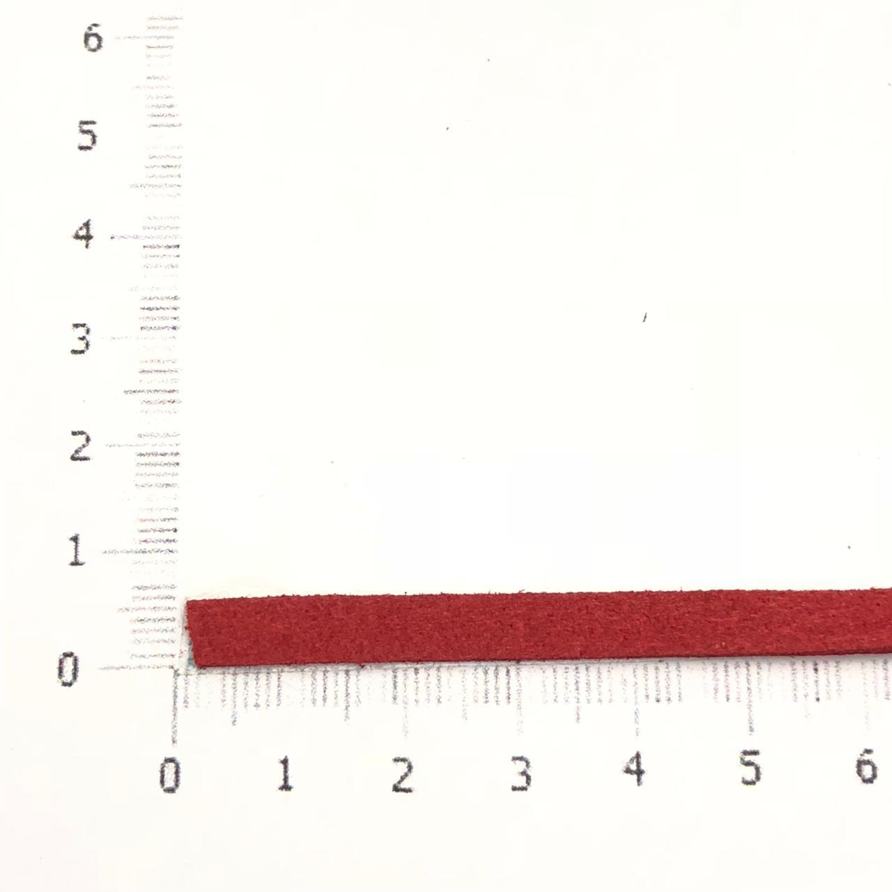 CM44 - Cordão de camurça 5mm Cereja - 1metro