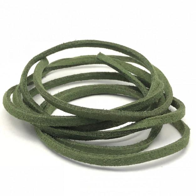 CM95 - Cordão de camurça 3mm Verde Bandeira  - 1metro