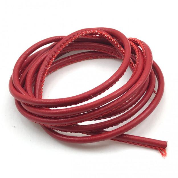 CPU03 - Cordão de PU costurado 2,5mm Vermelho - 1metro