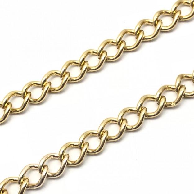 CR198 - Corrente de Alumínio 1.20 Elo Quadrado Dourada - 1metro