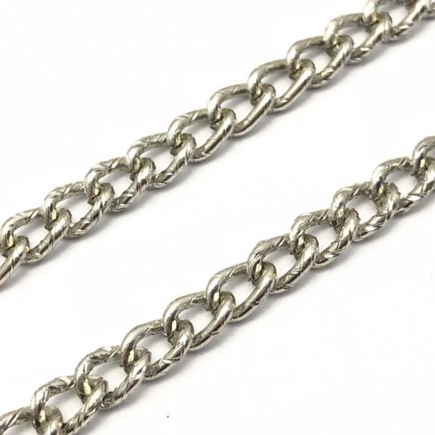CR202 - Corrente de Alumínio 1.00 Grume Recartilhado Níquel - 1metro