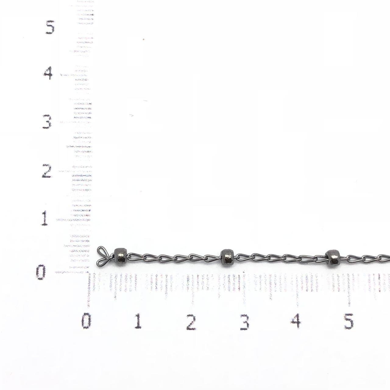 CR210 - Corrente com bolinha 3mm Banhado Cor Grafite - 1metro