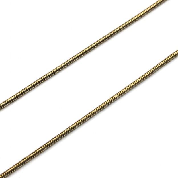 CR219 - Corrente Rabo de Rato 1mm Banhado Cor Ouro Velho - 1metro