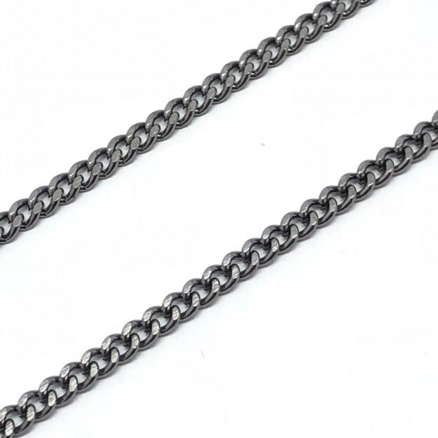CR228 - Corrente de Ferro 0.65 Grume Chanfrada Grafite - 1metro