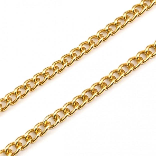CR238 - Corrente de Alumínio 1.00 Grume Dourado - 1metro