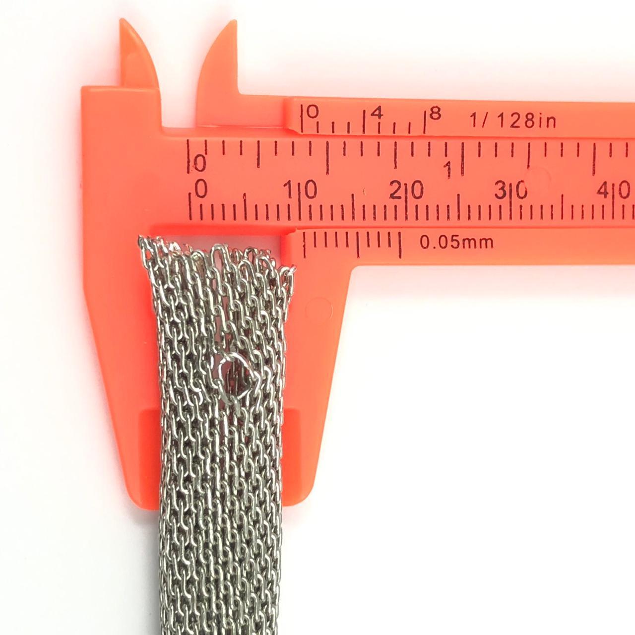 CR240 - Corrente Redonda 10mm Banhado Cor Prata - 50CM
