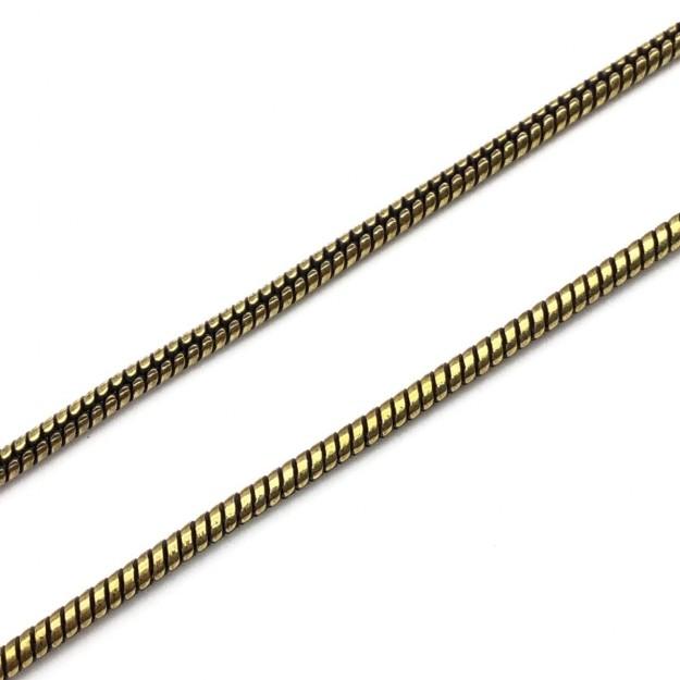 CR274 - Corrente Rabo de Rato 3mm Banhado Cor Ouro Velho - 1metro