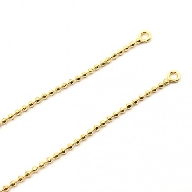CR324 - Corrente Pronta Bolinha 1.5 Banhado Cor Dourado - 45cm