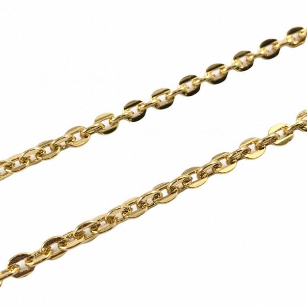 CR378 - Corrente Cadeado Fechado 2mm Banhado Cor Dourado - 1metro