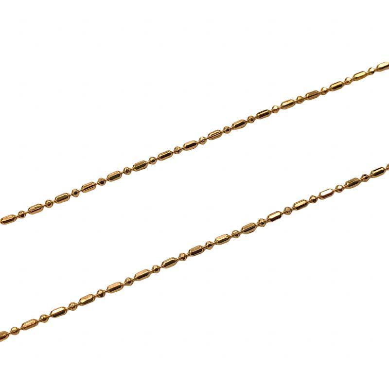 CR409 - Corrente Alternada 1bola e 1arroz 1.2mm Banhado Cor Dourado - 1metro