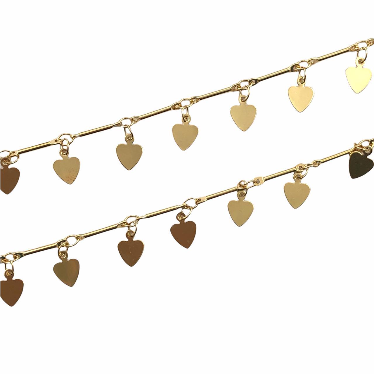 CR419 - Corrente Pingente Coração Banhado Cor Dourado - 1metro
