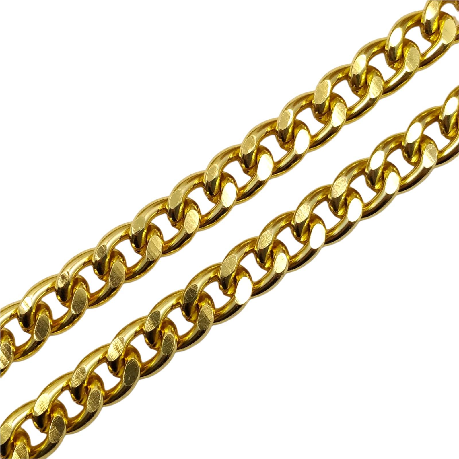 CR425 - Corrente de Alumínio 12mm Grume Fechada Lixada Dourado - 1metro