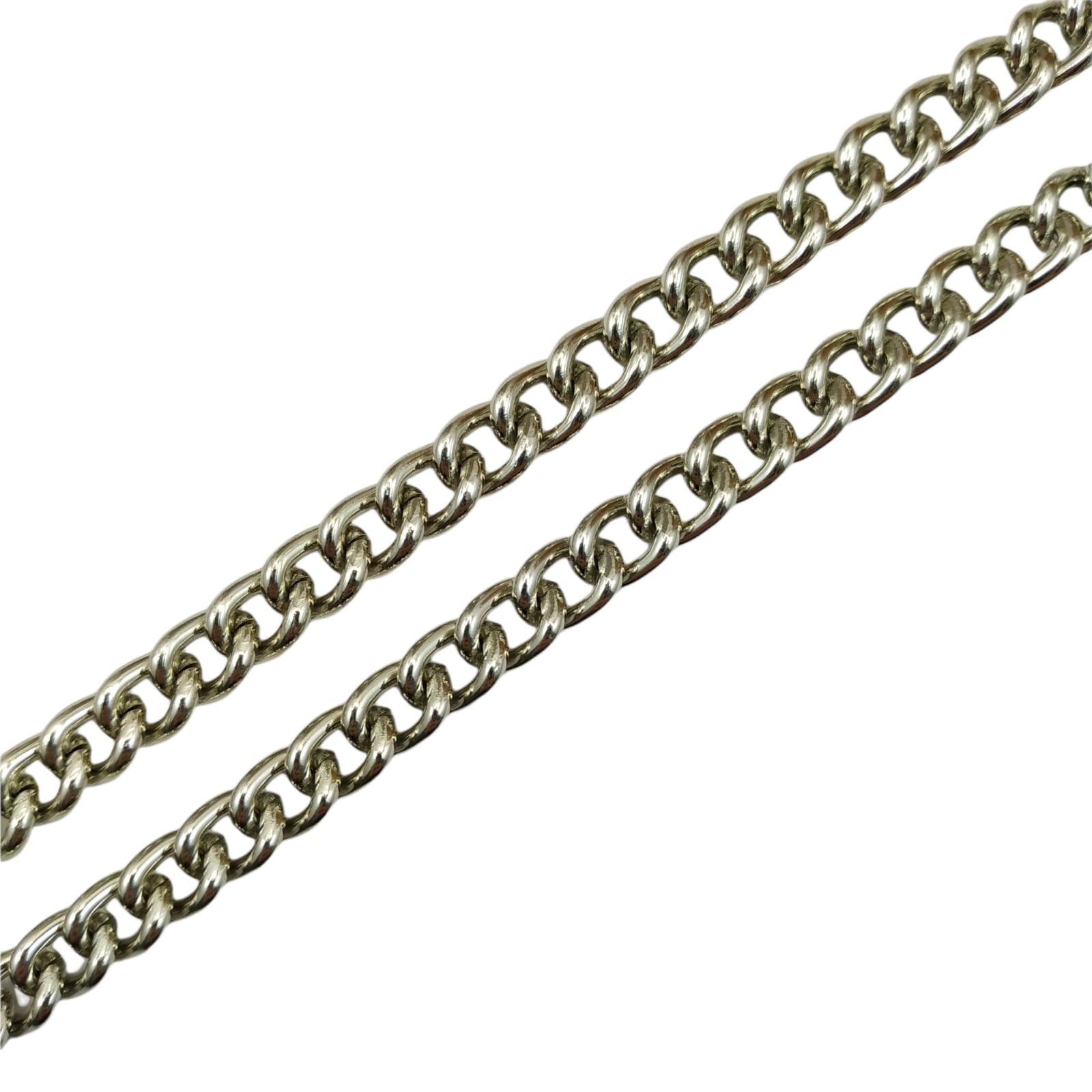 CR427 - Corrente de Alumínio 10mm Grume Fechada Prata - 1metro