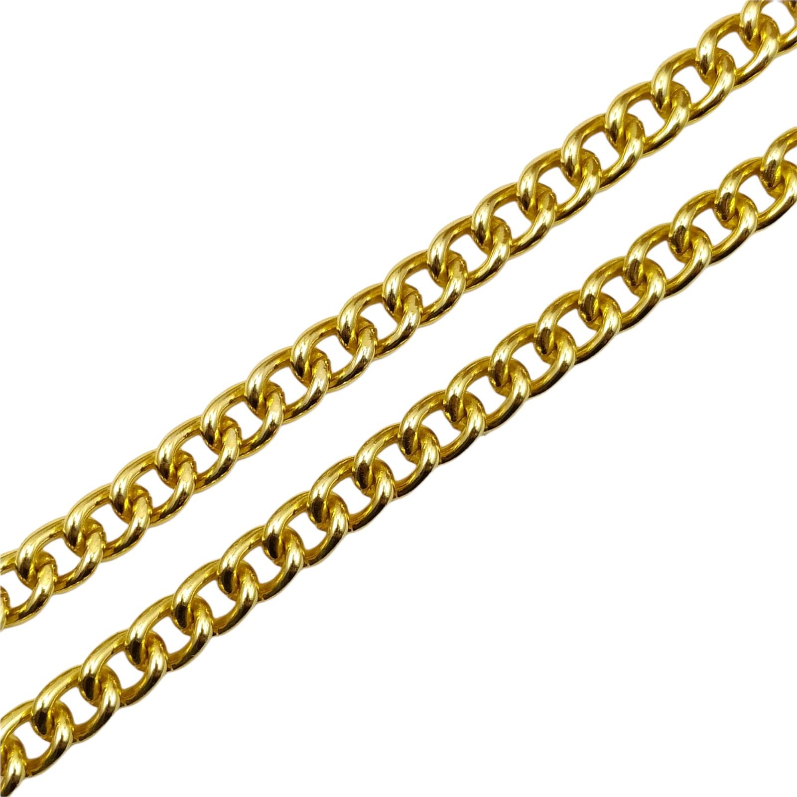 CR428 - Corrente de Alumínio 10mm Grume Fechada Dourado - 1metro