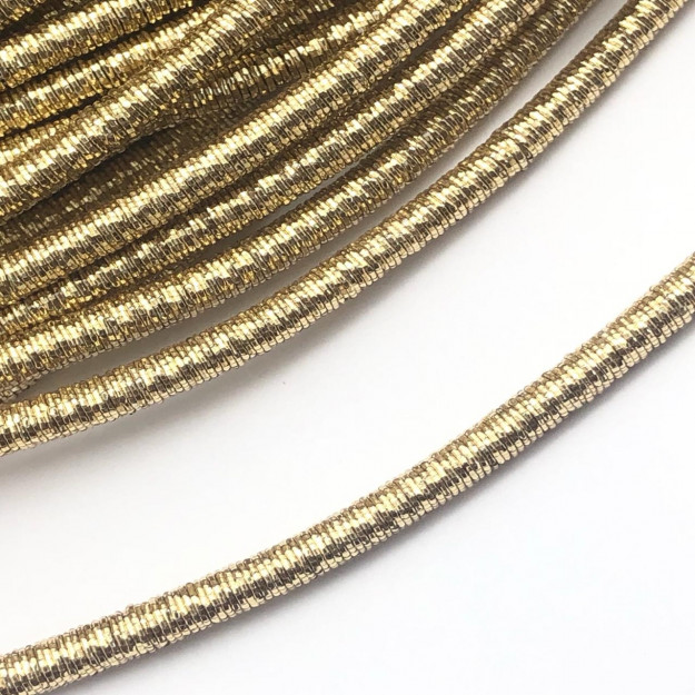 CRM007- Cordão Revestido Metalizado de Poliester 4mm Dourado - 1metro