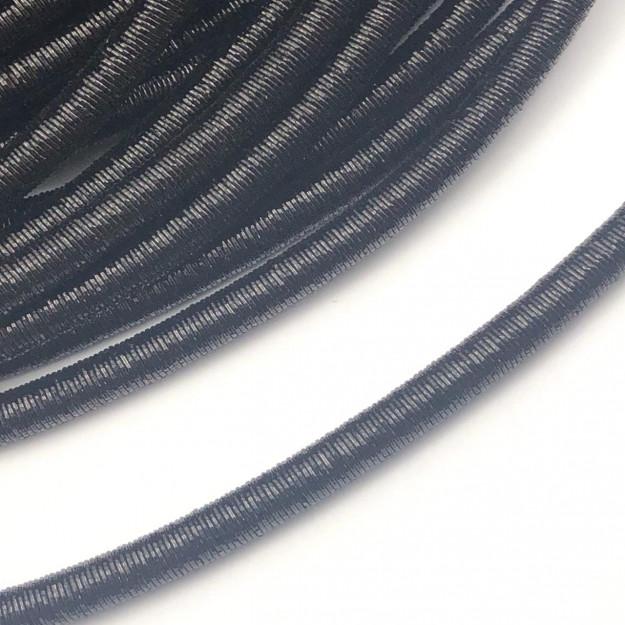 CRM008 - Cordão Revestido Metalizado de Poliester 6mm Preto - 1metro