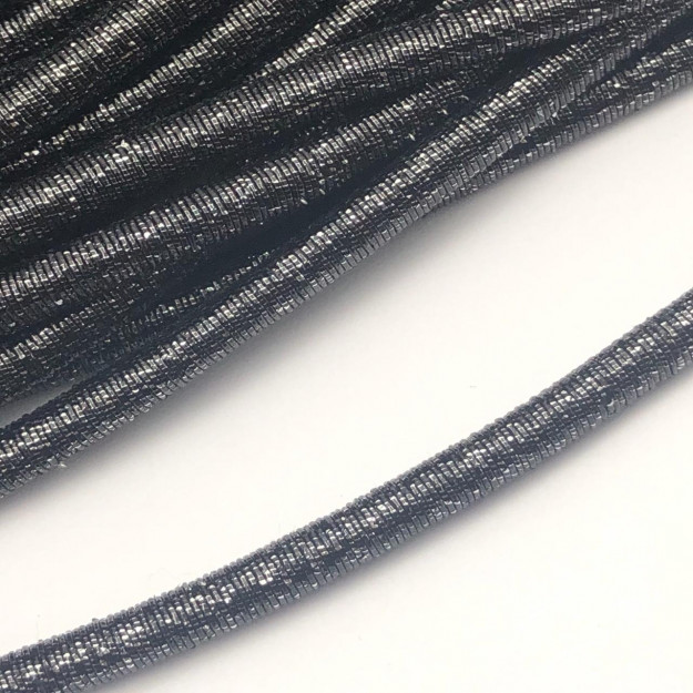 CRM011 - Cordão Revestido Metalizado de Poliester 6mm Grafite - 1metro