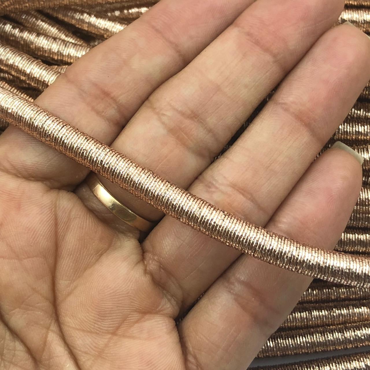 CRM012 - Cordão Revestido Metalizado de Poliester 6mm Rose Gold - 1metro