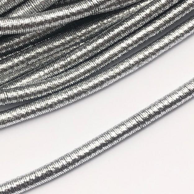 CRM014 - Cordão Revestido Metalizado de Poliester 6mm Prata - 1metro