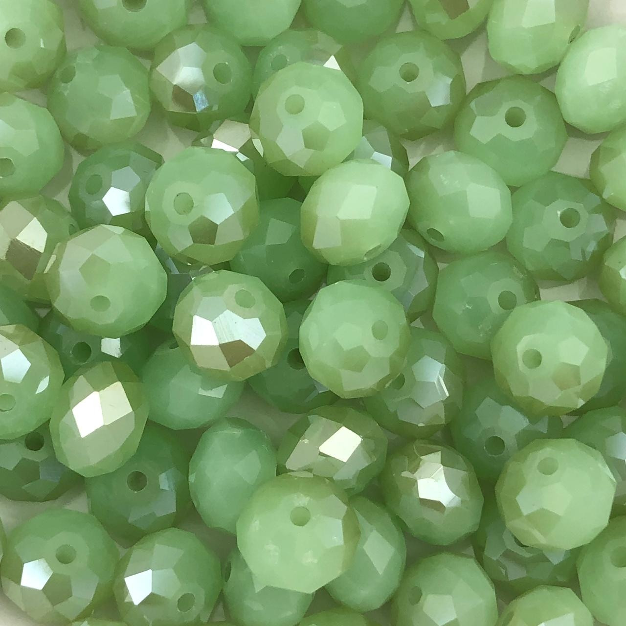 CRT398 - Cristal no Fio Verde Ervilha Irisado 10mm - 72Unid