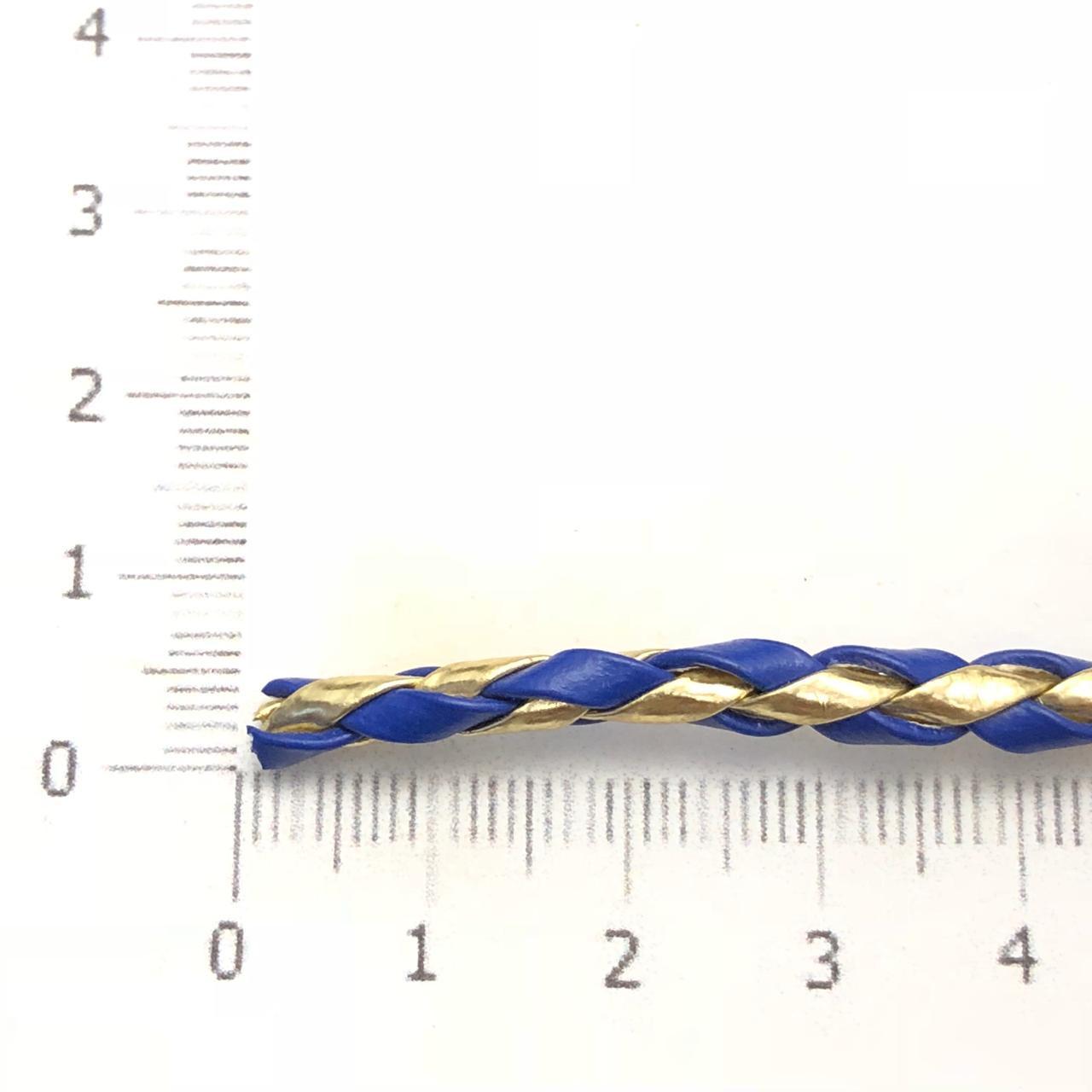 CTR16 - Couro Trançado Sintético 4mm Azul/Dourado - 1metro