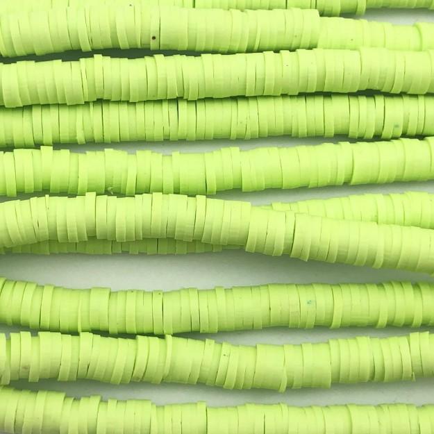 DF04 - Disco Fimo Emborrachado Maça Verde 6mm - 01Fio