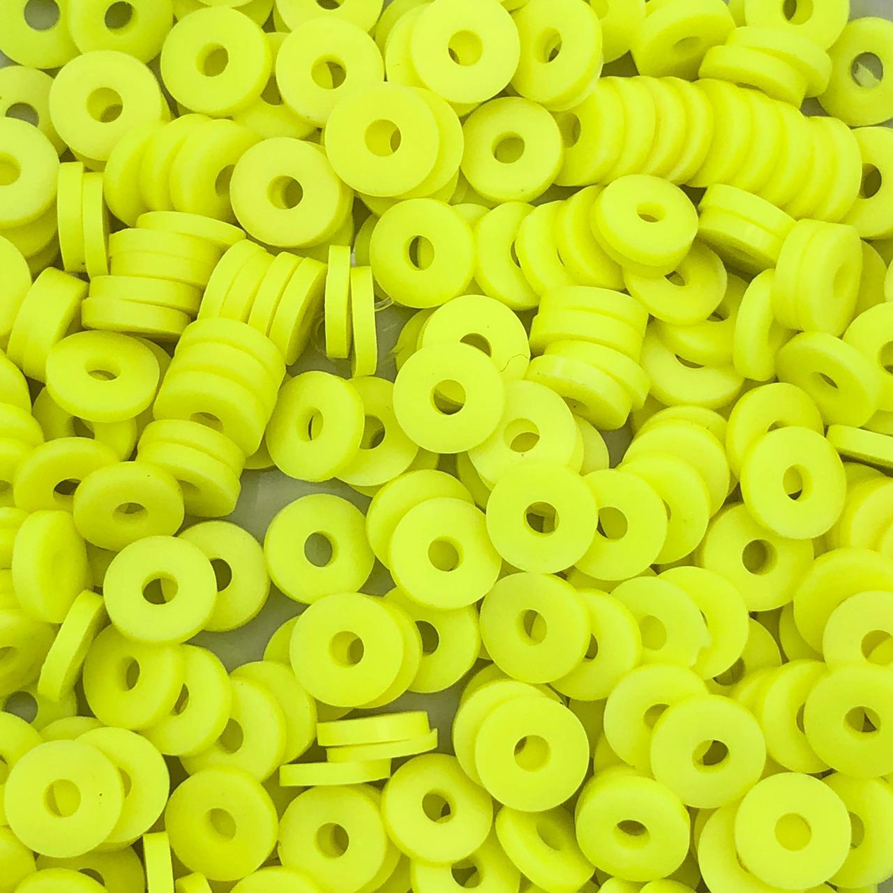 DF05 - Disco Fimo Emborrachado Amarelo Neon 6mm - 01Fio