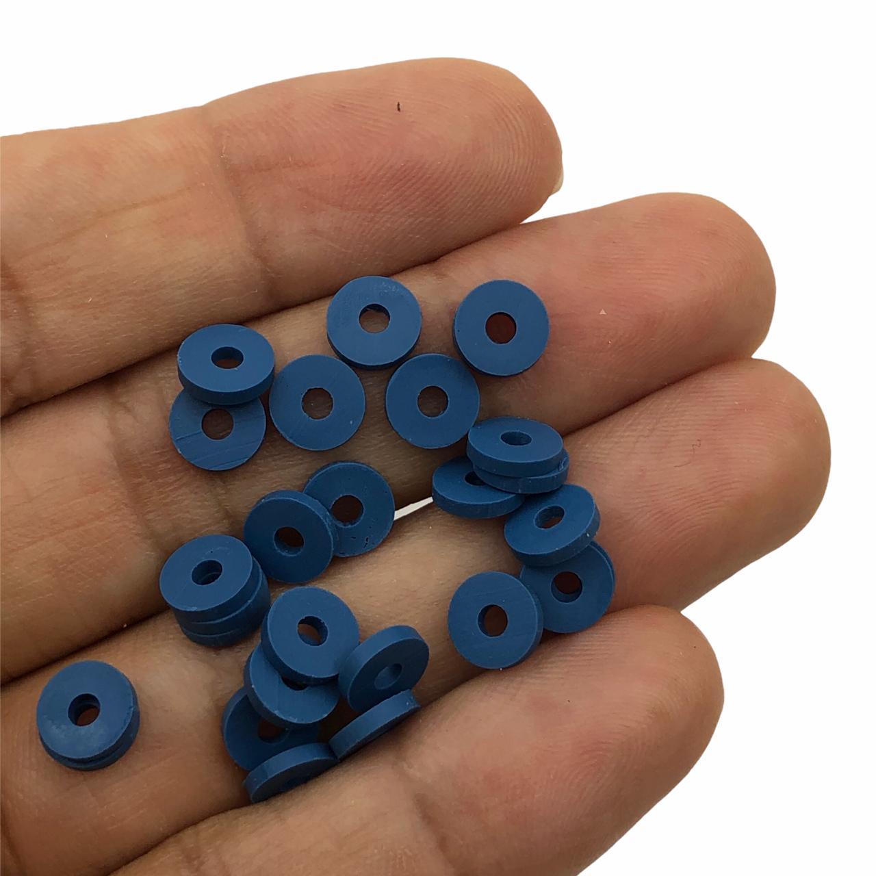 DF07 - Disco Fimo Emborrachado Azul Petróleo 6mm - 01Fio