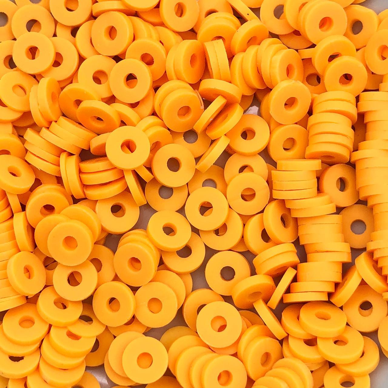 DF25 - Disco Fimo Emborrachado Laranja Candy 6mm - 01Fio